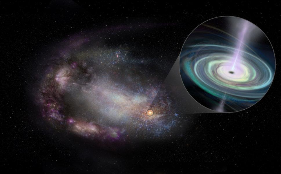 Концепция художника о карликовой галактике, ее форма искажена, скорее всего, прошлым взаимодействием с другой галактикой, и массивной черной дырой на ее окраине (отступление). Черная дыра притягивает материал, который образует вращающийся диск и генерирует струи материала, движущиеся наружу.