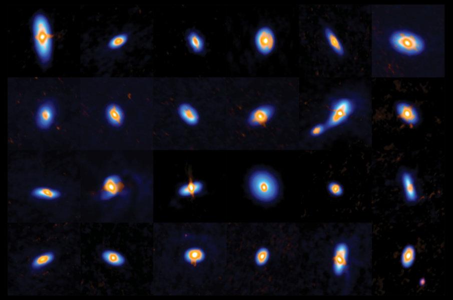 Обзор VANDAM: ALMA и VLA наблюдали более 300 протозвезд и их молодых протопланетных дисков в Орионе. Это изображение показывает подмножество звезд, в том числе несколько двоичных файлов. Данные ALMA и VLA дополняют друг друга: ALMA видит структуру внешнего диска (визуализируется синим цветом), а VLA наблюдает за внутренними дисками и звездными ядрами (оранжевым цветом).