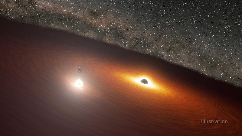 Это изображение показывает две массивные черные дыры в галактике OJ 287. Меньшая черная дыра вращается вокруг большей, которая также окружена газовым диском. Когда маленькая черная дыра врезается в диск, она дает вспышку ярче 1 триллиона звезд.